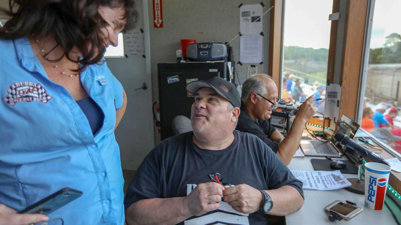 Bubba in the control booth at Bubba Raceway Park in Ocala. [CHRIS URSO | Times]