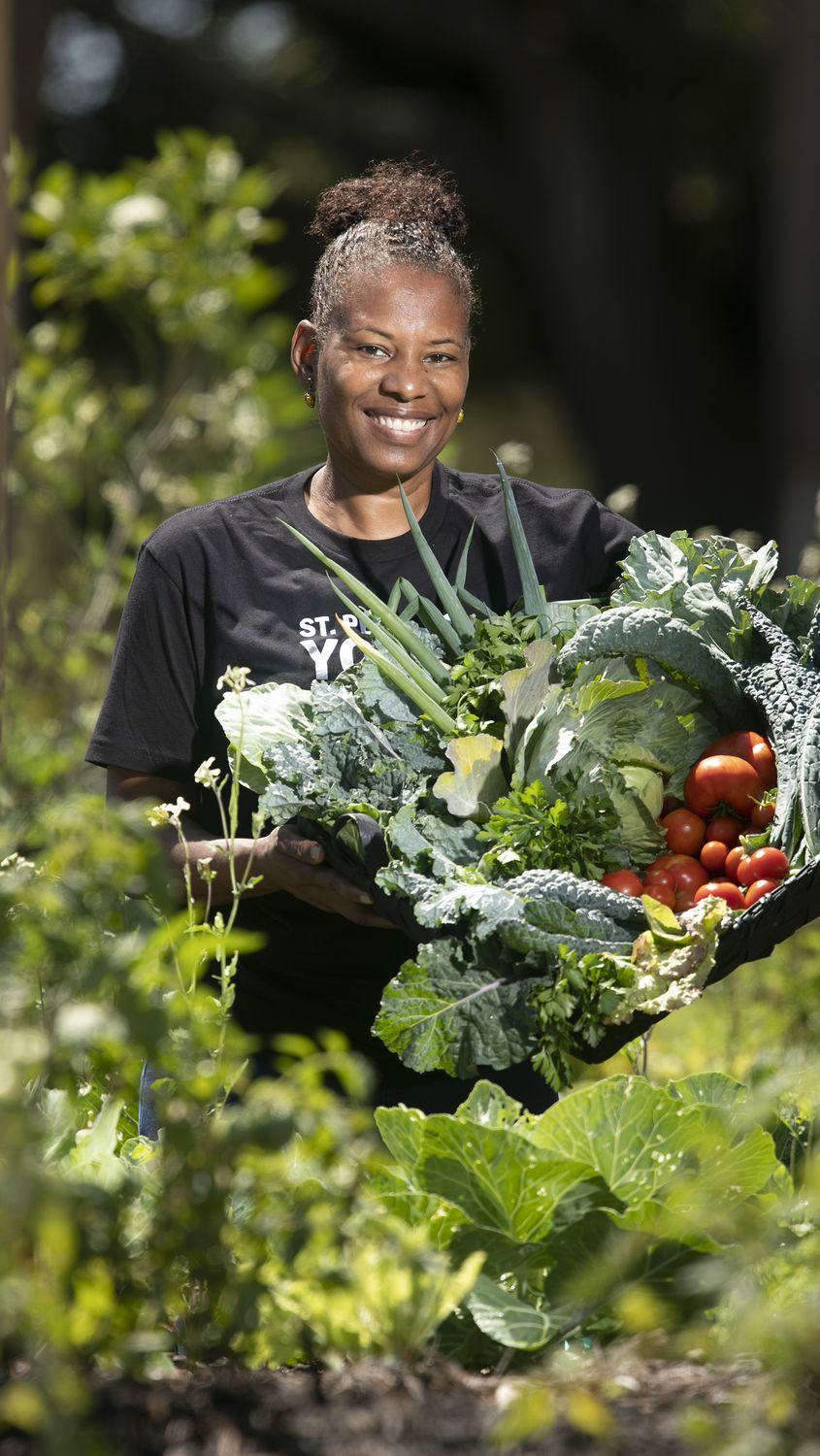 Community activist Carla Bristol at the St. Petersburg Urban Youth Farm at Pinellas Technical College.
