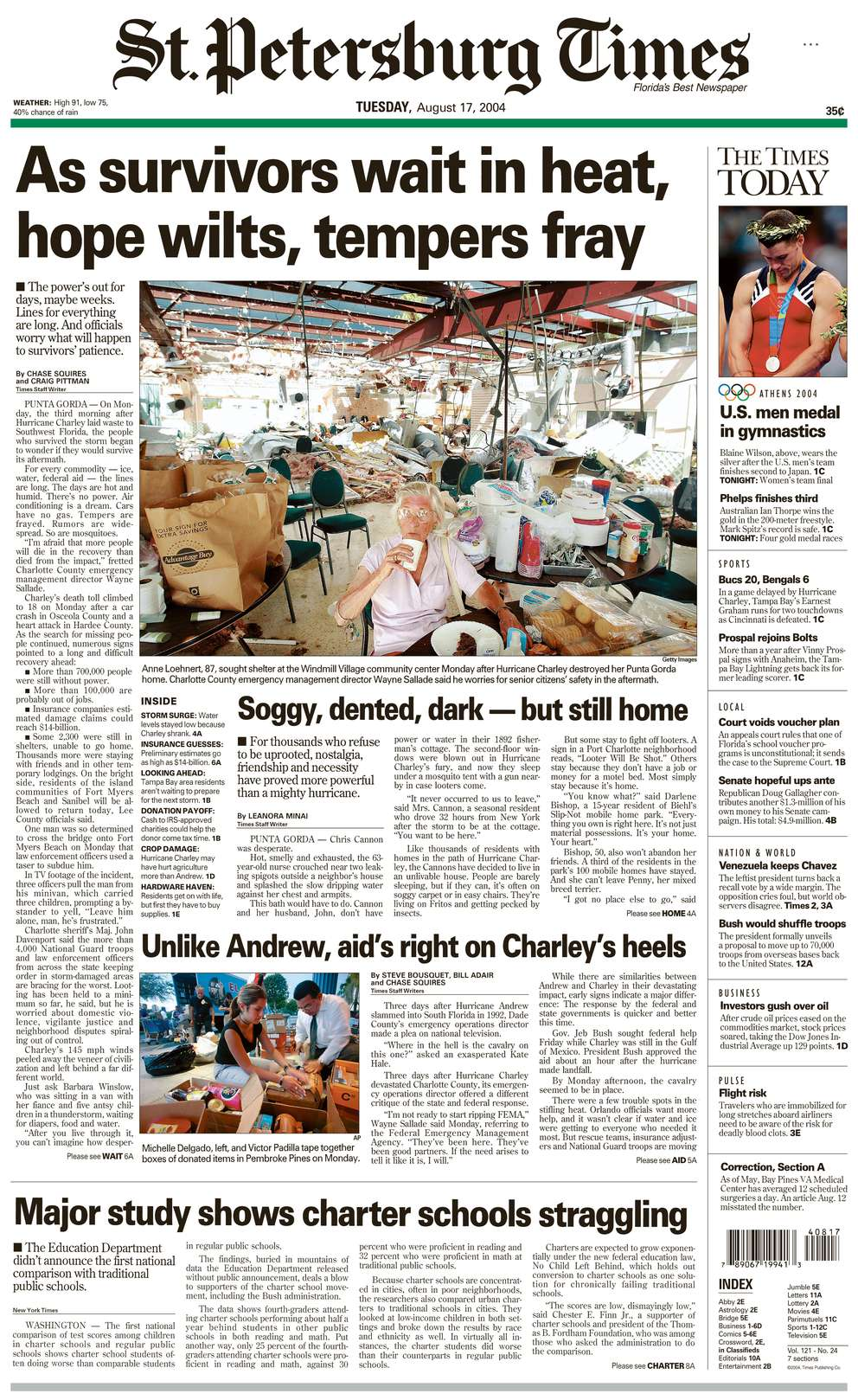 The front page of the St. Petersburg Times for August 17, 2004, featuring coverage of Hurricane Charley.