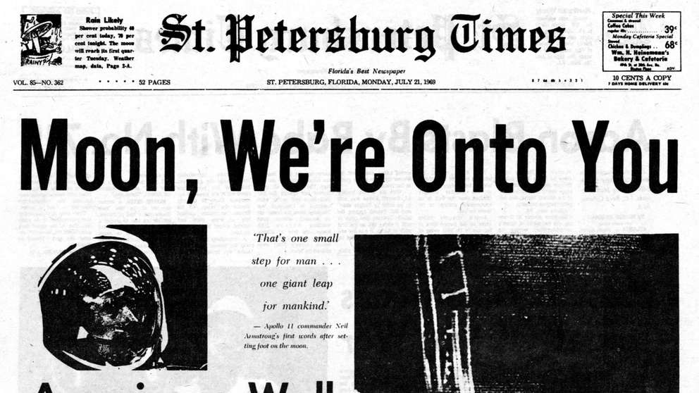 Front page of the St. Petersburg Times, July 21, 1969. Features coverage of the Apollo 11 mission and Neil Armstrong's historic first step onto the surface of the moon.