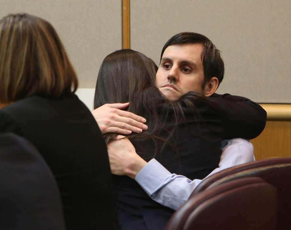 Jonchuck hugs attorney Jessica Manuele after being found guilt of first-degree murder. [SCOTT KEELER | Times]