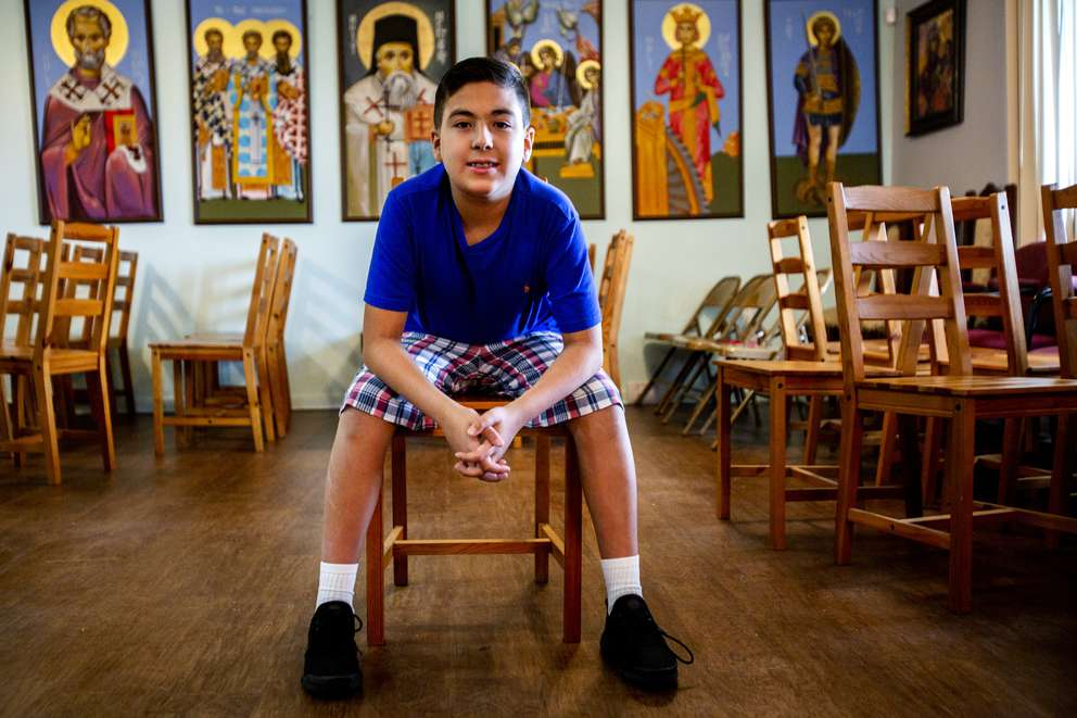 William Maillis, 11, poses for a portrait at his father's church on Riviera Road in Palm Harbor on Friday, July 20, 2018. Maillis is about to graduate from St. Petersburg College. He has been in college since he was eight. But at the age of two he knew all the planets, the moons they had, their gases and their distance from the sun. At that age he also knew multiplication. And later division at three years old. [BRONTE WITTPENN | Times]