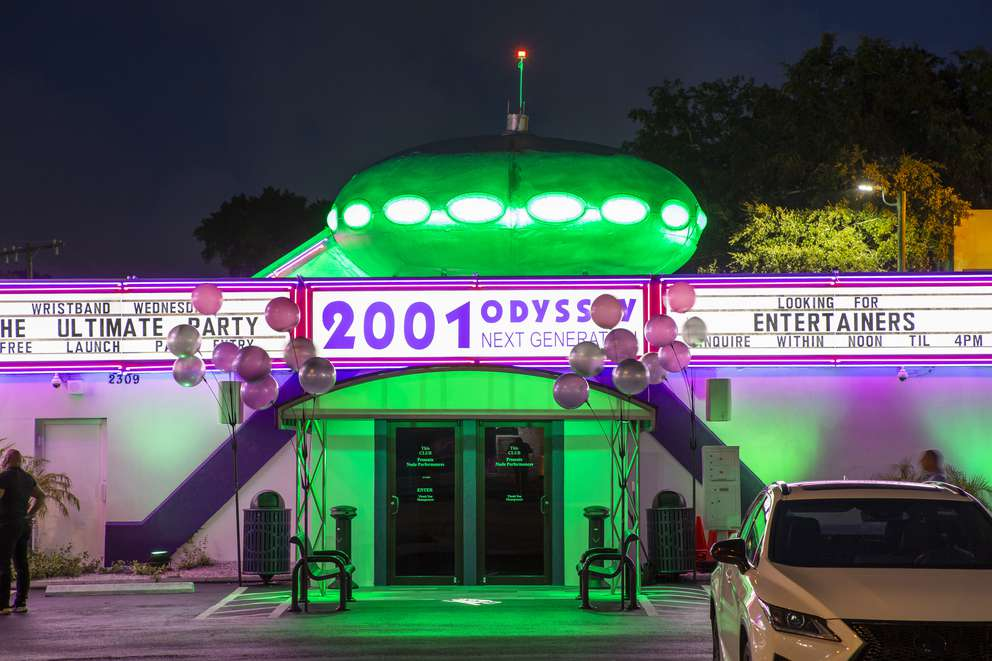 Exterior photo of strip club 2001 Odyssey featuring the iconic space ship which was actually once a home. [LUIS SANTANA   Times]