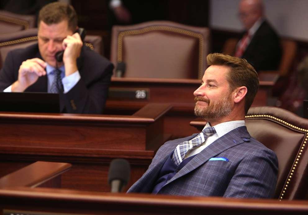 Then-Florida Sen. Greg Steube listens to debate on the floor of the Florida Senate. (SCOTT KEELER | Times, 2017)