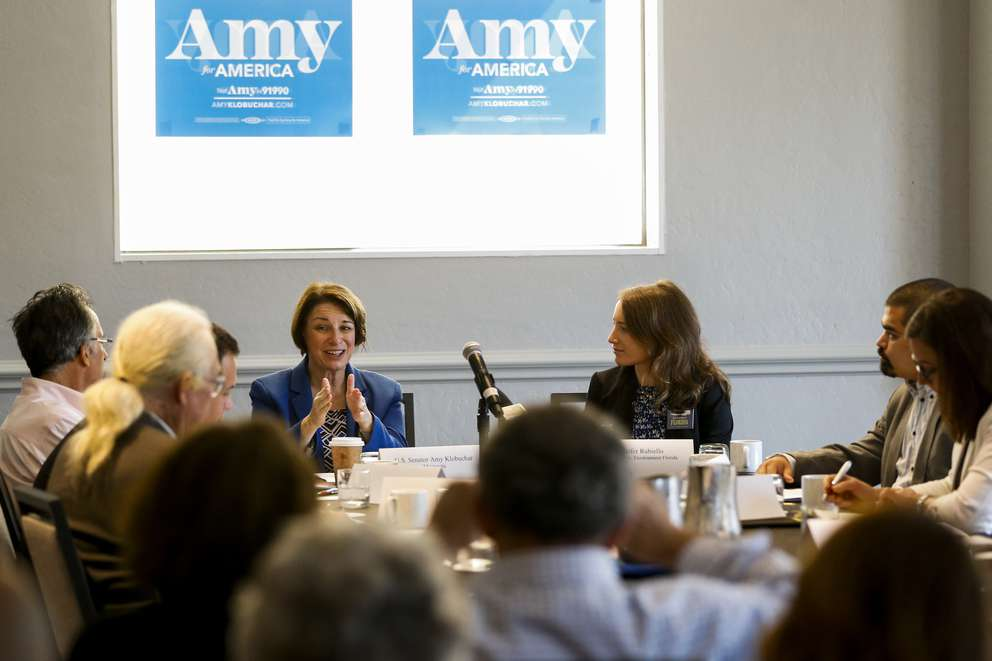 Minnesota Senator and Democratic contender for president Amy Klobuchar speaks during a climate change round table in Tampa on Sunday, March 10, 2019 at the Waterside Marriott. [TAILYR IRVINE   Times]