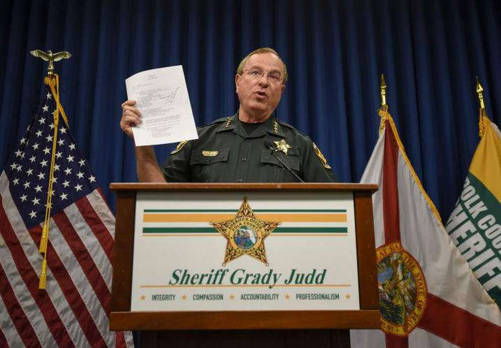 Polk County Sheriff Grady Judd speaks during a news conference  in Winter Haven. CHRIS URSO | Times