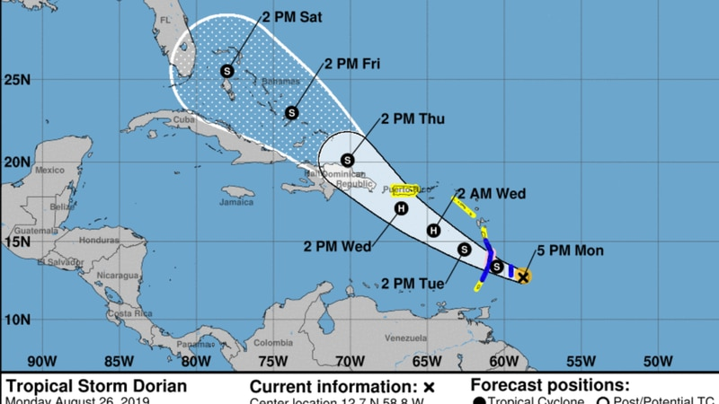Dorian is likely to become a hurricane, and Florida's projected to be in its path
