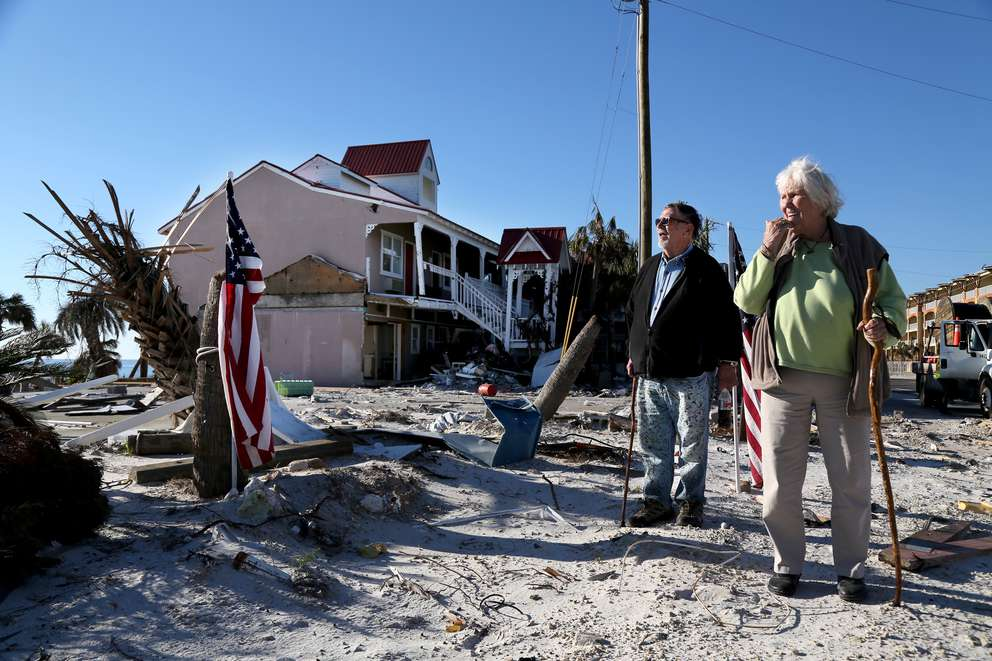 Tom Wood, left, and Peggy Wood at the site of the Driftwood Inn. DOUGLAS R. CLIFFORD | Times