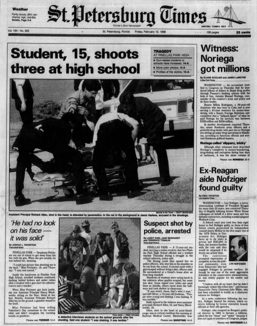 The front page of the St. Petersburg Times on the day after the shooting.