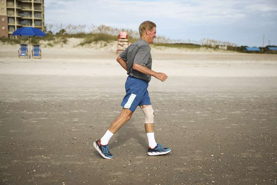 WILL VRAGOVIC | TimesSenator Bill Nelson runs along American Beach on Amelia Island south of Fernandina Beach, Fla. on Saturday, Sept. 2, 2017. At age 74, Nelson is one of the most physically fit Senators at the Capitol.