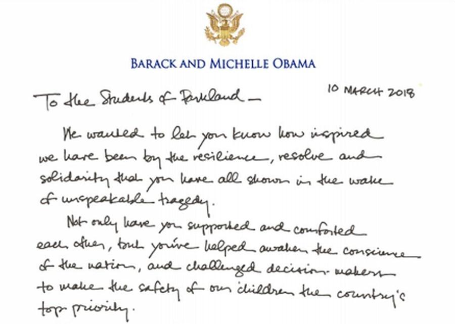 Barack and Michelle Obama in letter to Parkland survivors: 'You've