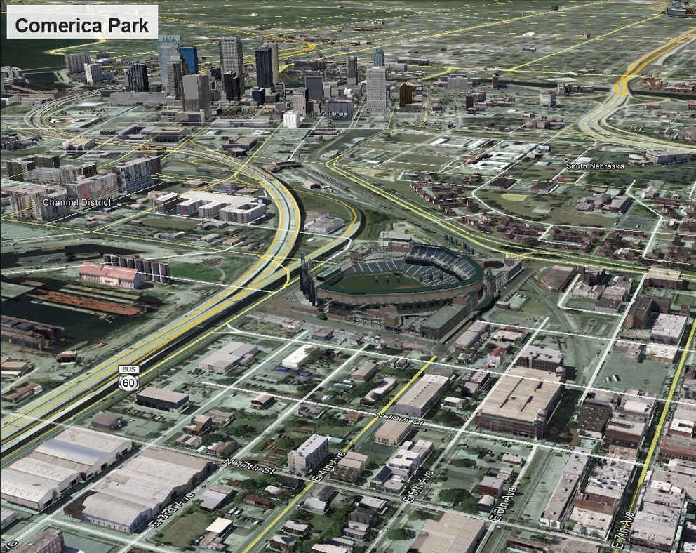 An image depicting what Comerica Park, home of the Detroit Tigers, would look like in Ybor City at Channelside Drive north of the Selmon Expressway. It is one of eight mockups of potential Tampa Bay Rays ballpark locations created last year by Hillsborough County. The site was ultimately chosen by Hillsborough County Commissioner Ken Hagan as the option to present to the Rays for a new ballpark. (Courtesy of Hillsborough County)
