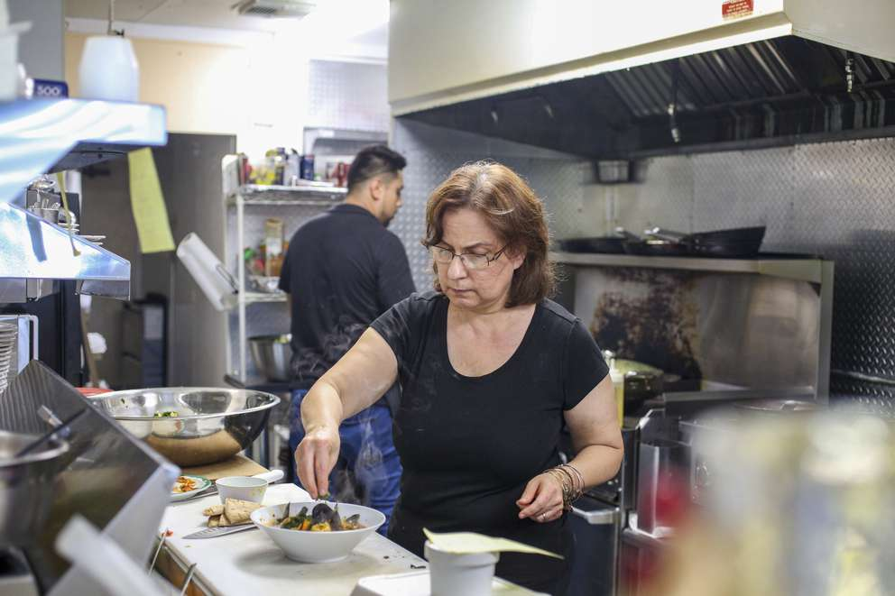 Berna Nar works in the kitchen at her restaurant, Cafe Zuppina, in Lakeland. [MARTHA ASENCIO-RHINE   Times]