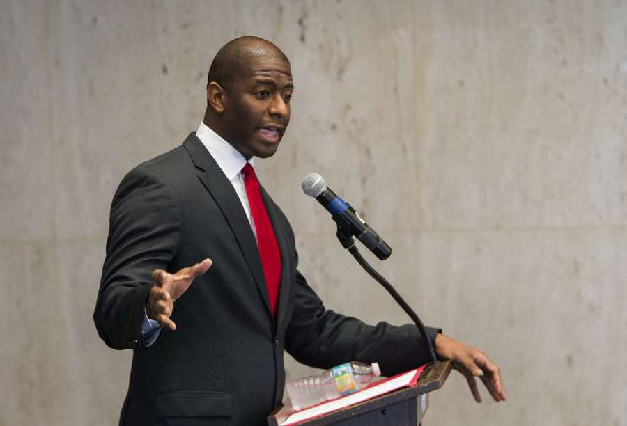 Tallahassee Mayor and candidate for Florida governor Andrew Gillum speaks during the Florida AP Legislative Day at the Florida Capitol Thursday, Nov. 2, 2017, in Tallahassee, Fla.. (AP Photo/Mark Wallheiser)