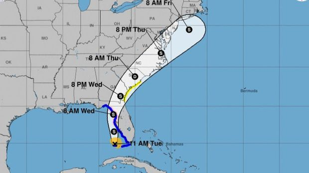Tropical Storm Elsa's location and forecast cone as of 11 a.m. Tuesday, July 6. Using a map, help older children name the states and cities the hurricane is likely to strike. Have them mark where you live in the hurricane zone.