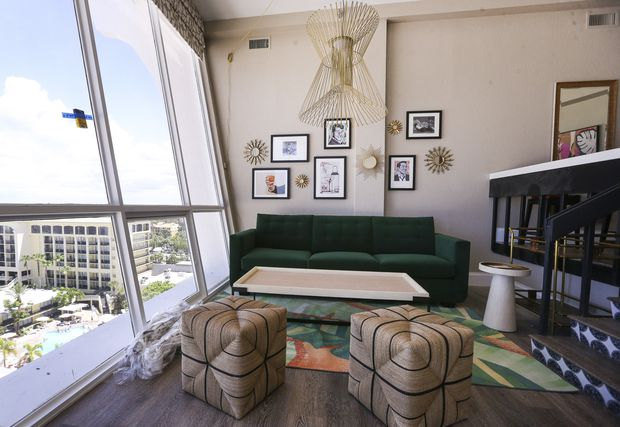 One of the six penthouse guest rooms at the Bellwether Beach Resort.