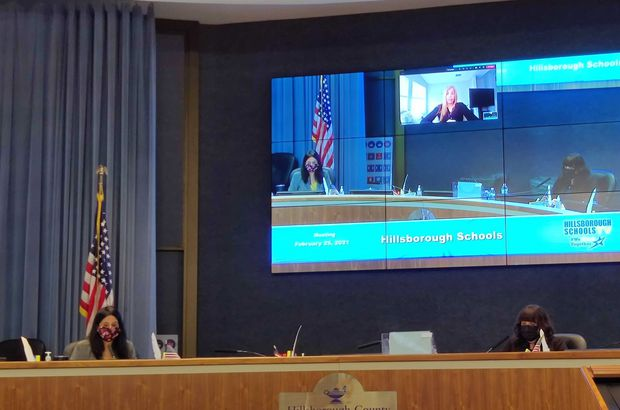 Hillsborough County School Board members Nadia Combs and Jessica Vaughn at a member-to-member meeting on Thursday. Member Karen Perez, who attended remotely, can be seen on the screen above.