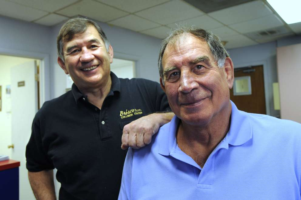 Jerry and Jack Brisco at their Brisco Brothers Collision And Repair business in Tampa. The Briscos are former NWA tag team champions, and Jack Brisco was the former NWA world heavyweight champion. [Times files (2008)]