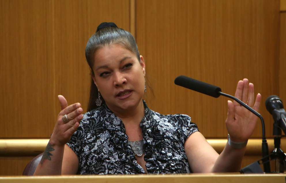 Tara Velez testifies in the murder trial of John Jonchuck on Wednesday. SCOTT KEELER   Times