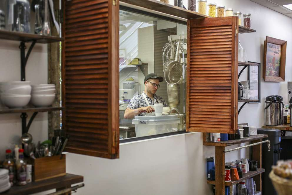 Benjamin Vickers of Honeycomb Bread Bakers works in the Catapult kitchen. [MARTHA ASENCIO-RHINE   Times]
