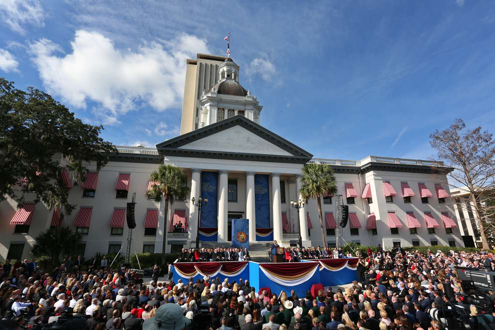 Florida's 46th Governor Ron DeSantis was sworn in Tuesday in front of Florida's Old Capitol in Tallahassee. (SCOTT KEELER | Times)