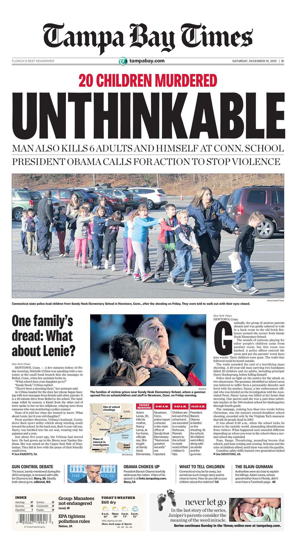 Dec. 14, 2012: 26 killed. The gunman killed his mother, then stormed Sandy Hook Elementary School armed with a semiautomatic rifle and two handguns. He killed 20 children, ages 6 and 7, and six adults at the Newton, Conn., school then committed suicide.