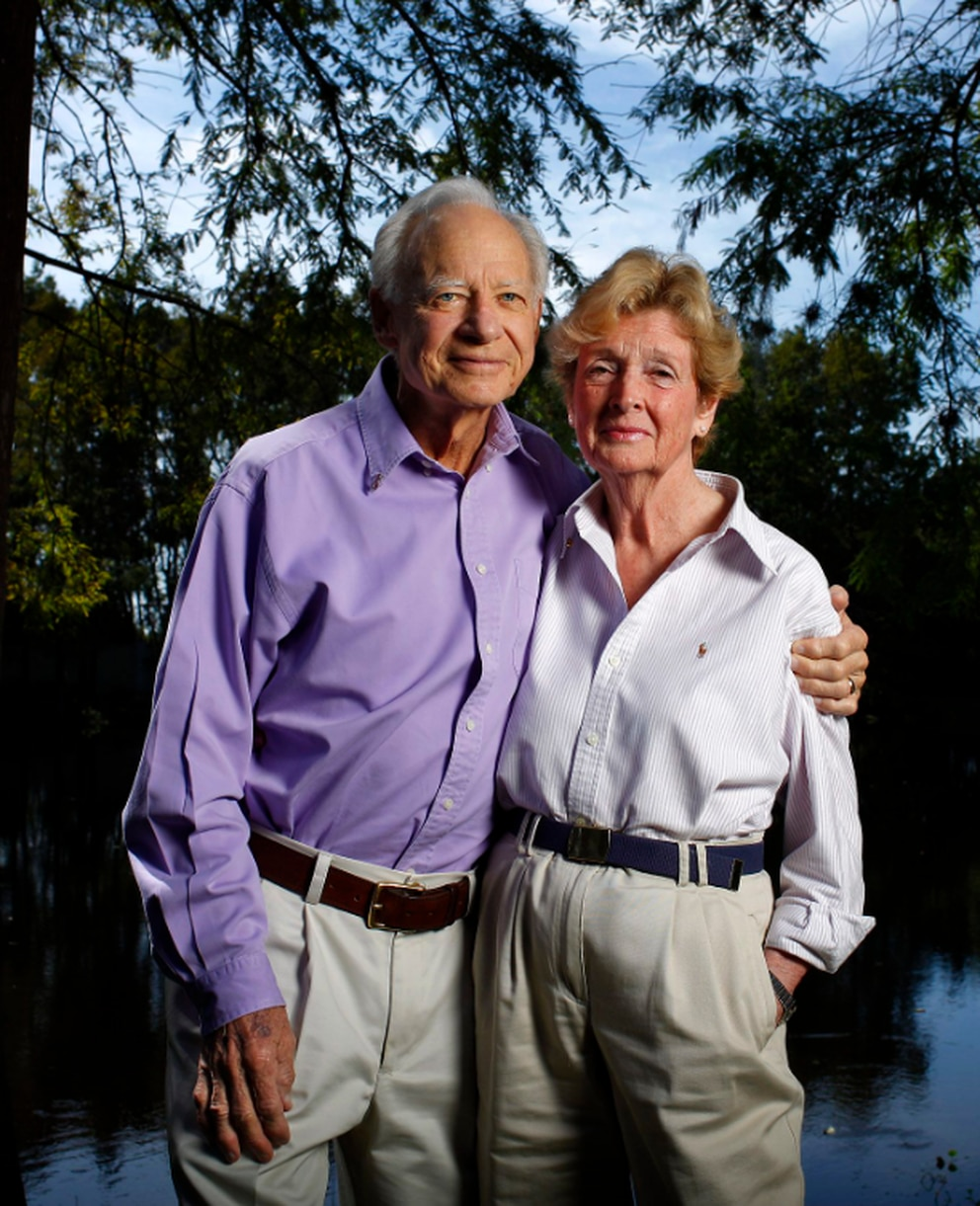 Former WFLA TV News Channel 8 weatherman David Grant and his wife Beverly pose for a portrait behind their home in Tampa on September 27, 2012. [Edmund D. Fountain | Times]