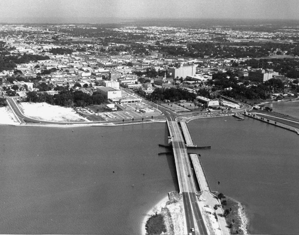 This photo shows the old Memorial Causeway. Times (1963)