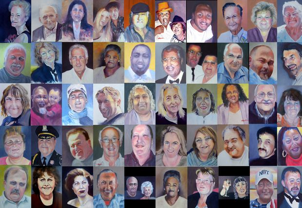 Margaret Bayalis' collage of the portraits she has made of victims of COVID-19.