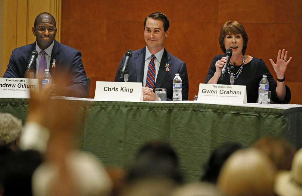 Andrew Gillum, Chris King and Gwen Graham participate in a Democratic gubernatorial forum in Hollywood, Fla. (Times files)