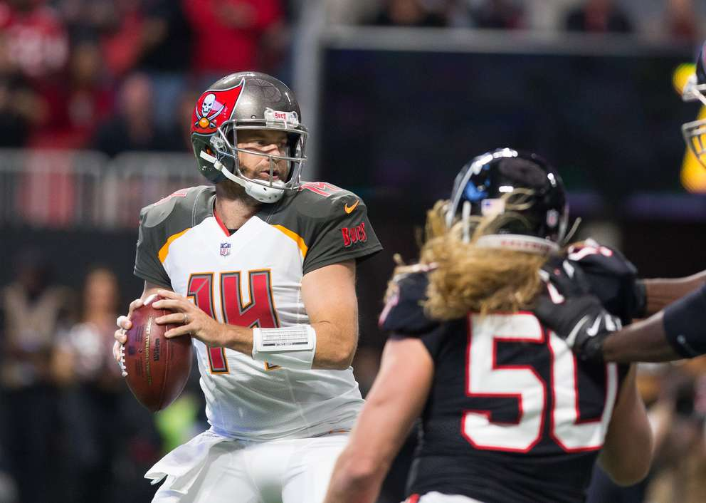 Ryan Fitzpatrick looks to pass during a 2017 game against the Atlanta Falcons. [Times files (2017)]