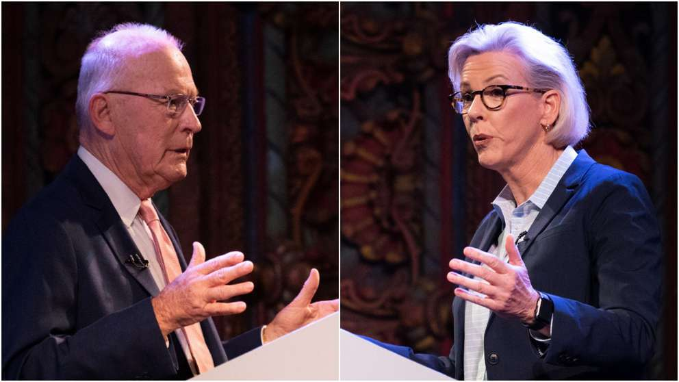 Tampa mayoral candidate David Straz, left and Mayor-elect Jane Castor, right, during their April 23 televised debate. [ALLIE GOULDING | Times]