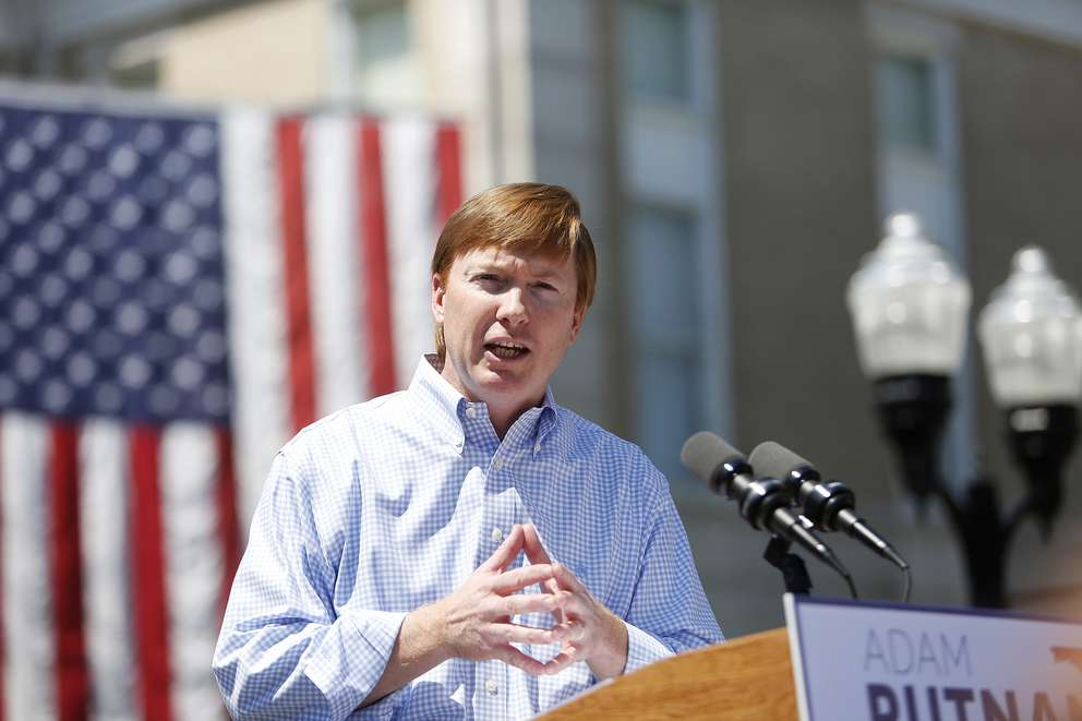 OCTAVIO JONES | Times Commissioner of Agriculture Adam Putnam who's running for Governor of Florida greets his supporters during his campaign rally at the Old Polk County Courthouse in Bartow, Florida on Wednesday, May 10, 2017.