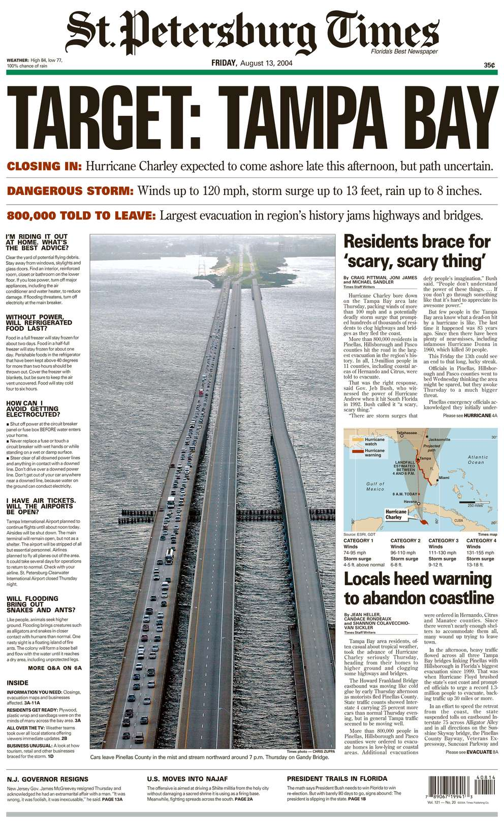 The front page of the St. Petersburg Times for August 13, 2004, featuring coverage of Hurricane Charley.