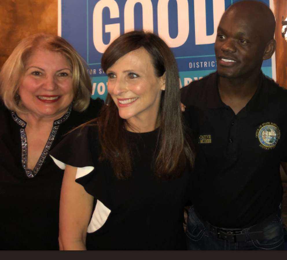 Margaret Good, center, with House Democratic Leader Janet Cruz and Leader-Designate Kionne McGhee (Courtesy of Florida House Victory)