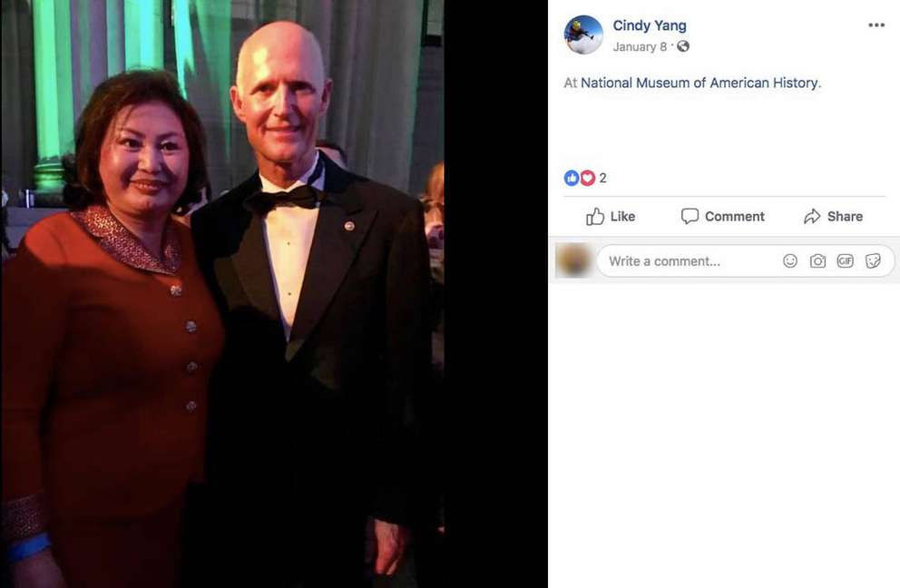 Cindy Yang attended Sen. Rick Scott's Sunshine Ball in Washington, D.C., on Jan. 8. The event asked $25,000 for a photo opportunity with Scott. [Miami Herald]