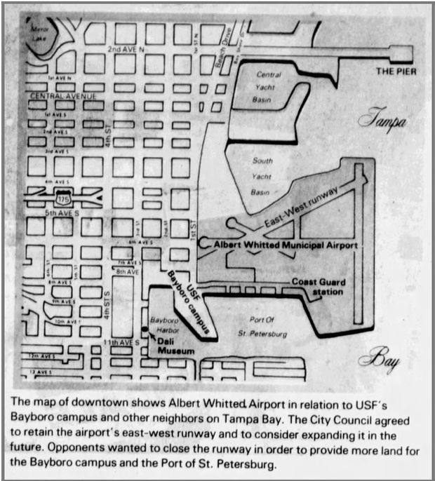 National Airlines, one of the first airlines in the U.S., began service at Albert Whitted Airport in 1938. This map was published in the Tampa Bay Times on July 18, 1984.