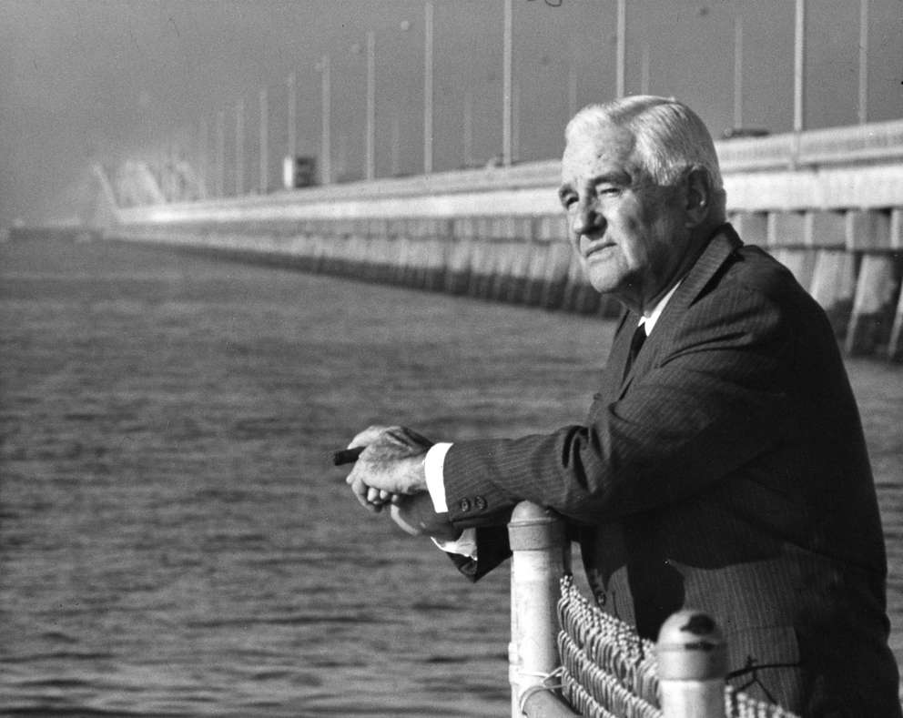 W. Howard Frankland with the bridge named for him in the background in 1969. [Times archives]