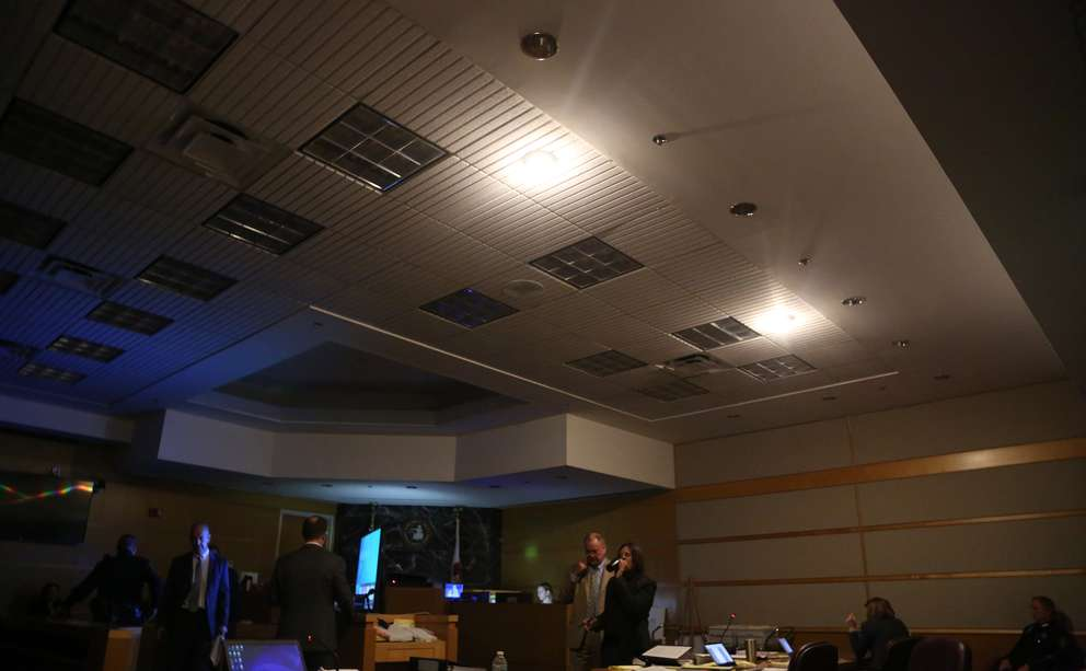 The lights in courtroom 2 at the Pinellas County Justice Center were dimmed to show a video of psychiatrist Emily Lazarou conducting an evaluation of Jonchuck at a state hospital. [SCOTT KEELER | Times]