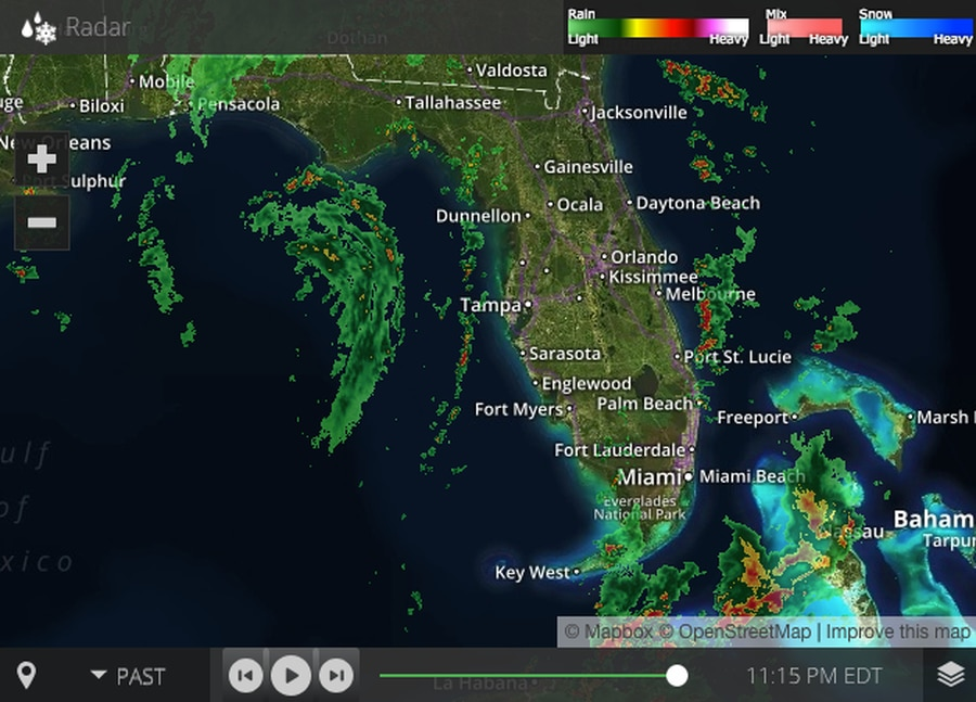 Screen grab of the TBO radar reading of the weather over Florida from 11:15 p.m. Sunday, May 27. Credit: TBO