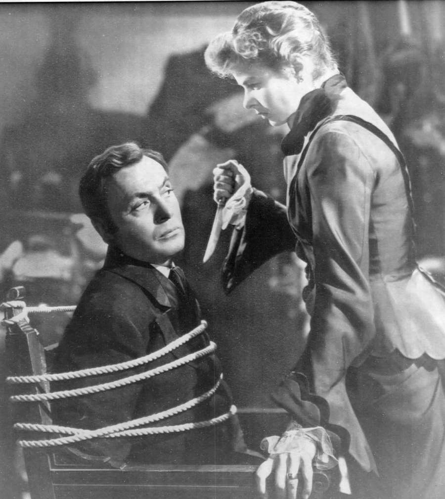 Ingrid Bergman and Charles Boyer in a scene from Gaslight in 1946. Times files.