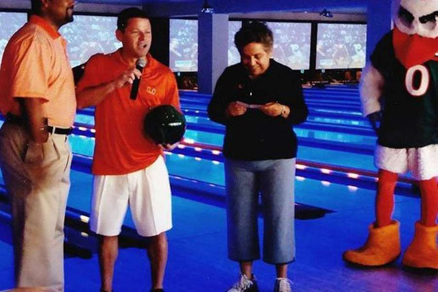 Donna Shalala accepted a $50,000 check from Nevin Shapiro in Lucky Strike bowling alley on Miami Beach in 2008. Levine was a bowling alley co-owner at the time. Shapiro is now a convicted ponzi schemer. (Miami Herald)