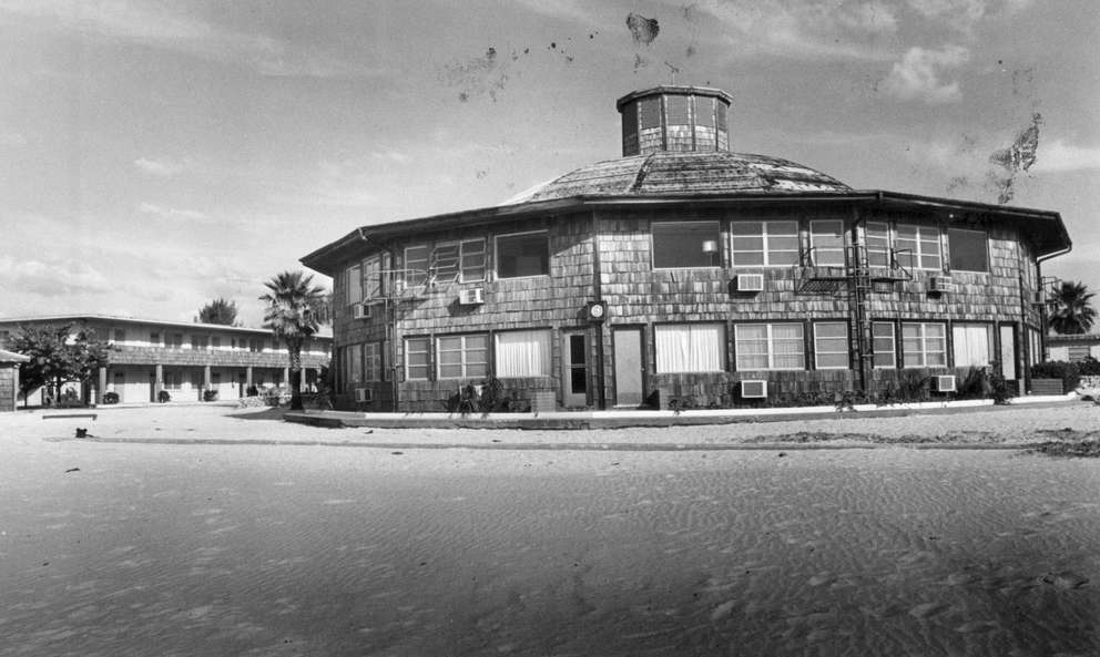 The main Sea Shell Motel building, as seen from the Gulf of Mexico. Times (1979)