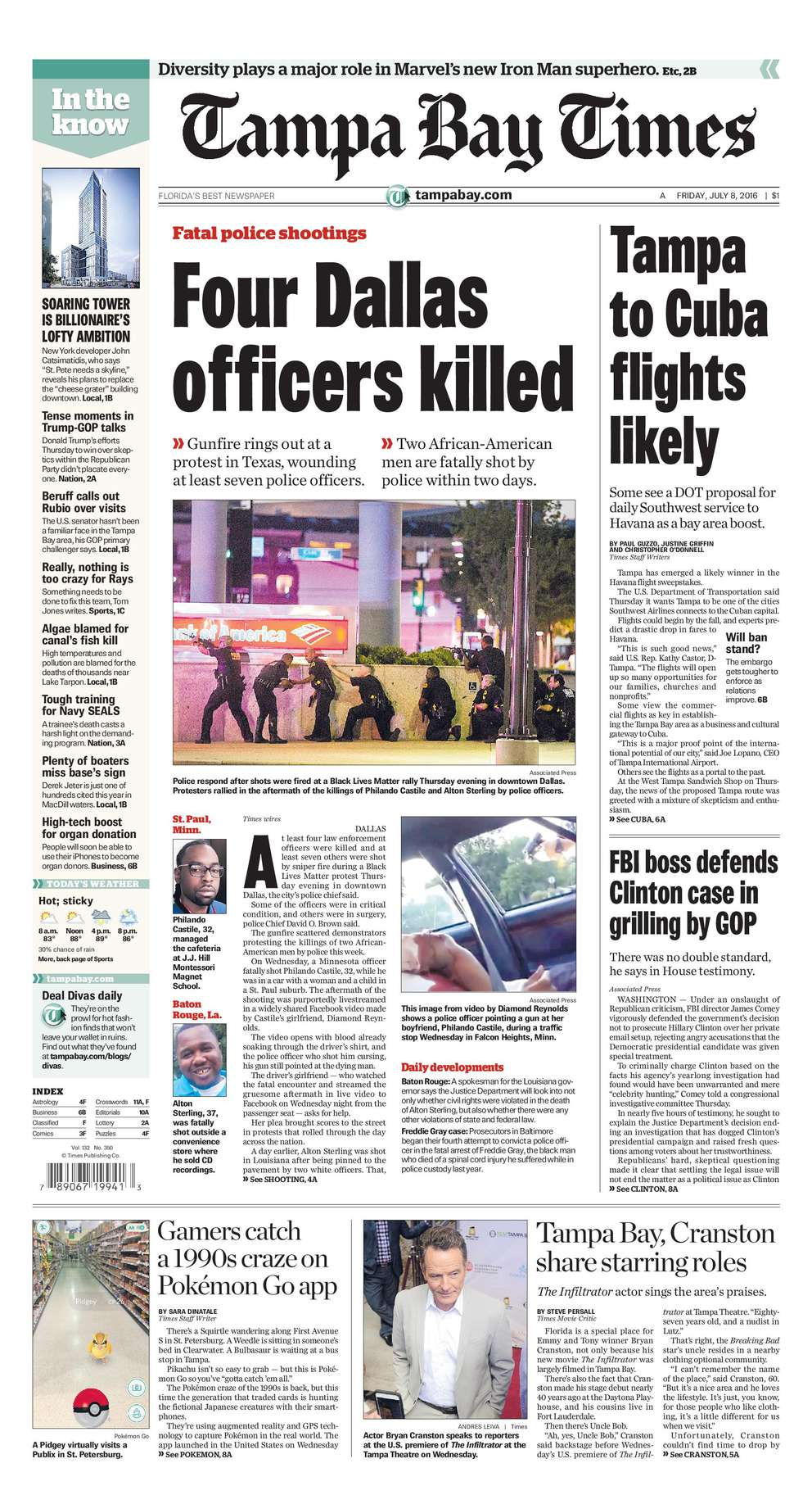 July 7, 2016: Five killed. At the end of a protest in downtown Dallas, five police officers were killed by a gunman who set out to kill white officers. Police later killed the gunman in a standoff using a robot with a remote-controlled explosive.