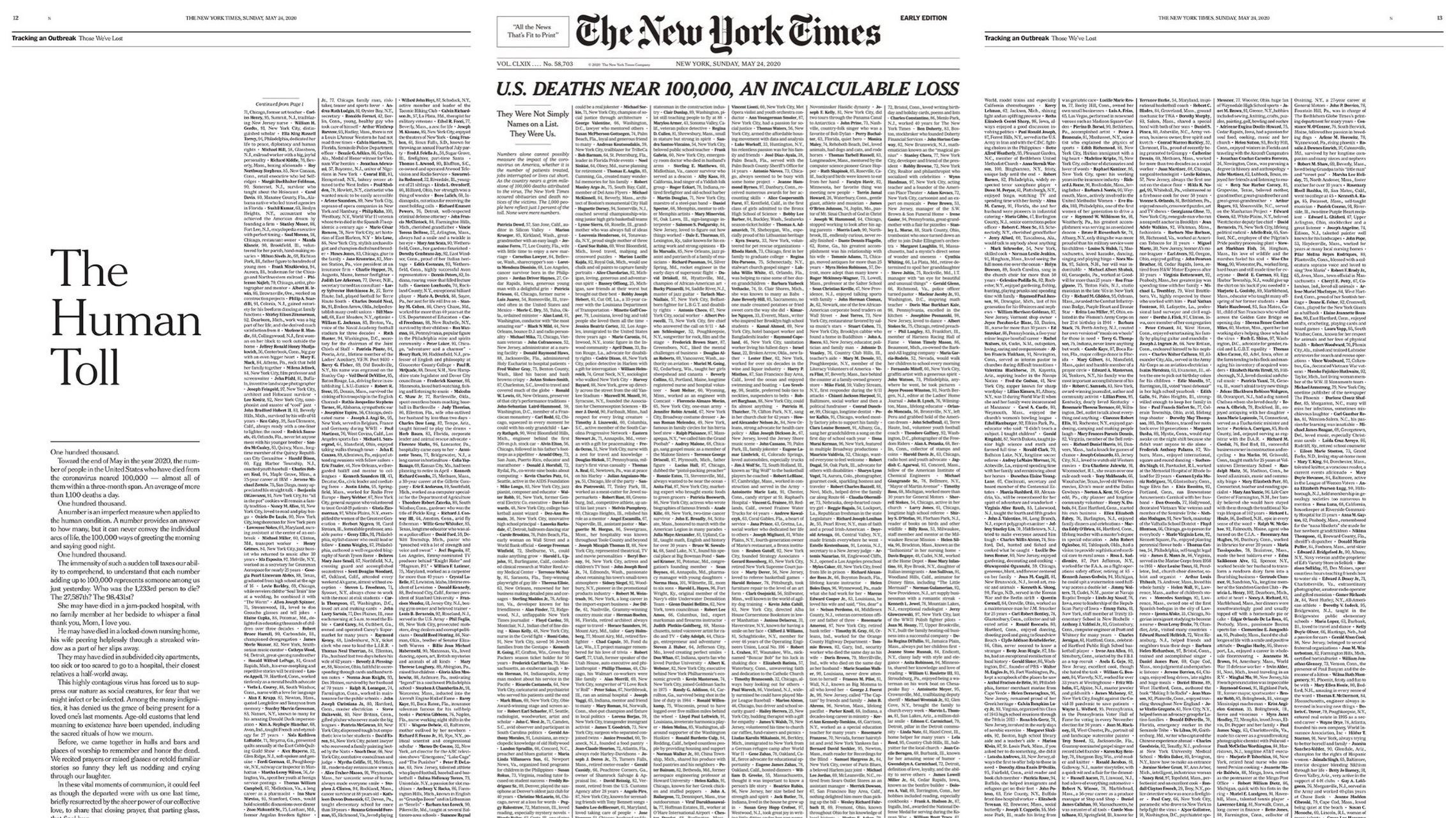 The New York Times Dedicates Sunday Front Page Solely To Coronavirus Victims