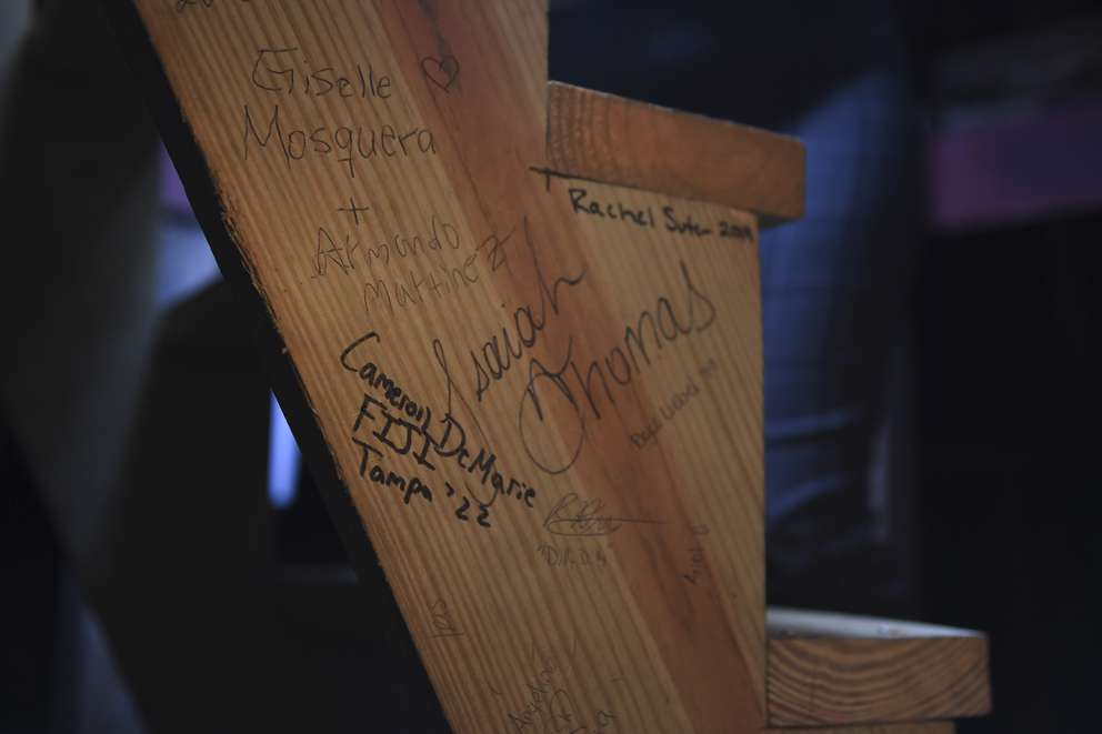 Inside a minaret on Plant Hall at the University of Tampa, signatures of visitors line the staircases. Tours of the minaret are given a few times a year. ALLIE GOULDING   Times