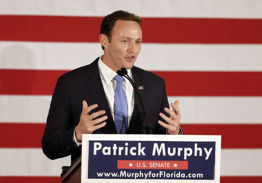 Patrick Murphy concedes the 2016 election to Republican Sen. Marco Rubio in Palm Beach Gardens. (AP Photo/Wilfredo Lee)