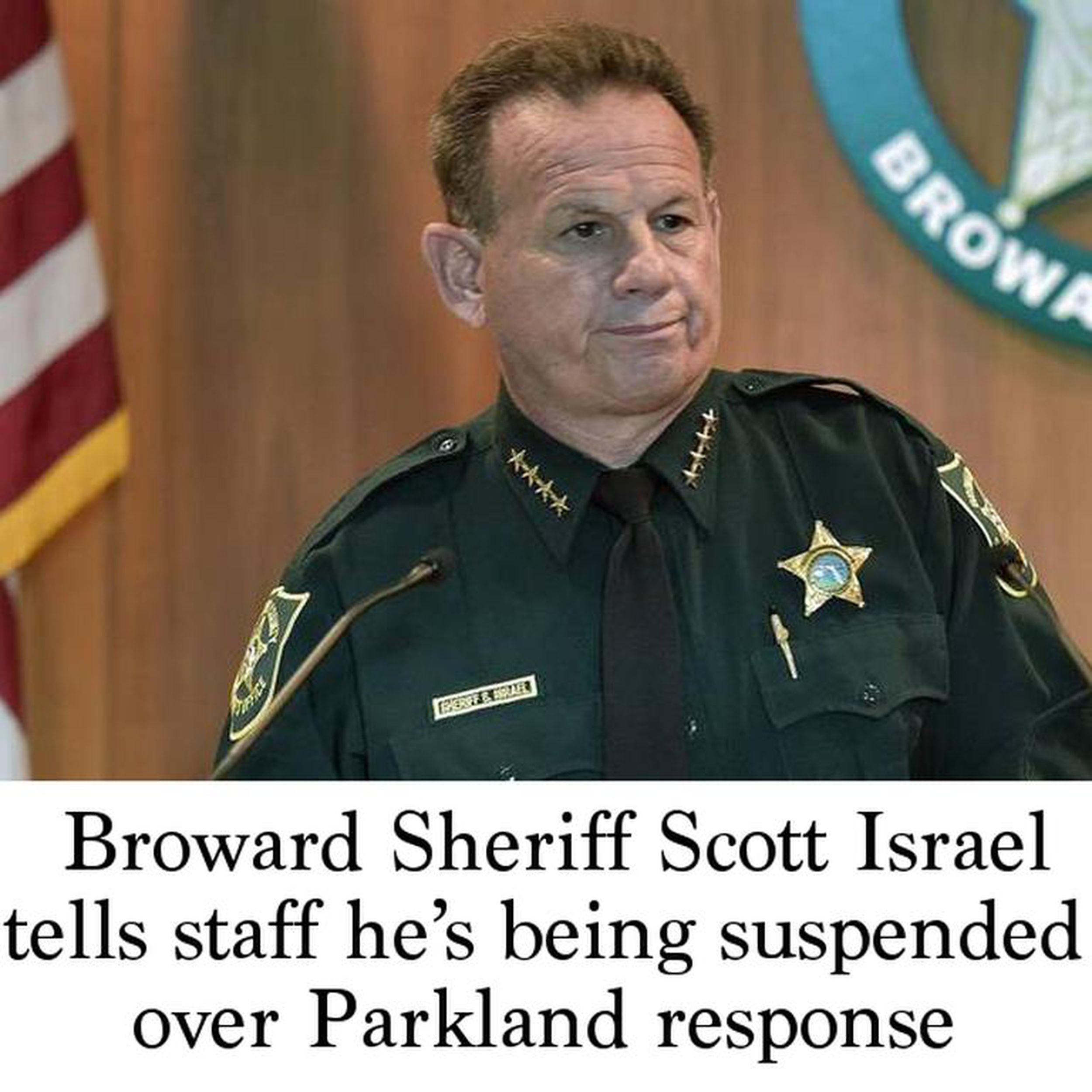 Broward Sheriff Scott Israel tells staff he's being