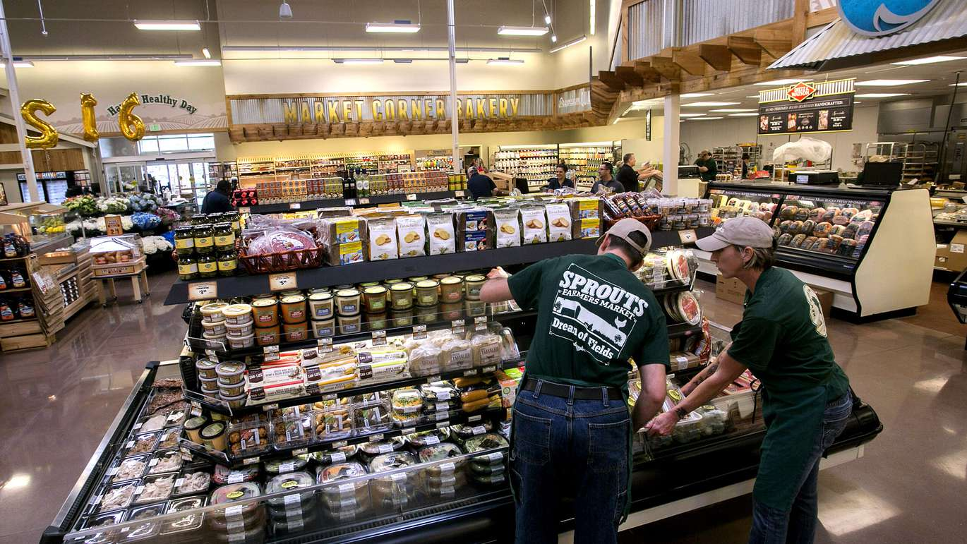 Employees stock the deli cases at the Sprouts Farmers Market in Carrollwood at 15110 Dale Mabry Highway, Tampa,FL, Tuesday, February 21, 2017. It's the first Sprouts Farmers Market to open in Tampa and will open to the public Wednesday, Feb. 23. [CHERIE DIEZ | Times]