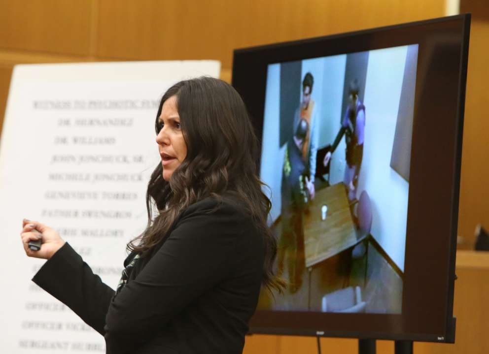 Public defender Jessica Manuele shows the jury a video defendant John Jonchuck in a police interview room after his arrest. SCOTT KEELER | Times